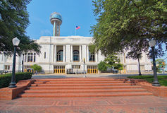 La station de train de Dallas Union, la plaza, et la tour images libres de droits