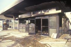 La station service grillent pendant 1992 émeutes Images stock