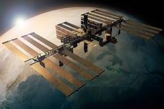 La Station Spatiale Internationale satellisant la terre illustration libre de droits