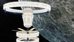 La station spatiale vole autour de la lune illustration libre de droits