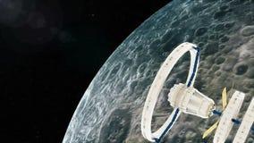 La station spatiale vole autour de la lune illustration stock