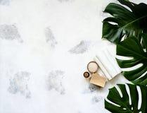 La station thermale et les traitements de massage sur le blanc, le monstera de marbre de fond part photo stock