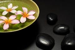 La station thermale fleurit la cuvette et la pierre noire Image libre de droits