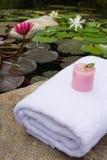 La station thermale a placé avec la serviette et la bougie près de l'étang de lotus photographie stock