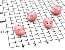 La statistica del porcellino salvadanaio Fotografie Stock Libere da Diritti