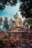 La statua antica di ฺBuddha Fotografia Stock Libera da Diritti