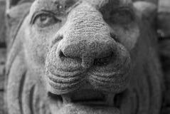 La statua capa del leone di pietra astratto Fotografie Stock Libere da Diritti