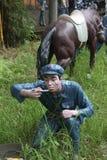 La statua del ¼ Œshenzhen, porcellana di Parkï dell'esercito dell'alimento di Taste del soldato in rosso Immagine Stock