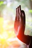 La statua della mano del ` s di Buddha Fotografie Stock Libere da Diritti
