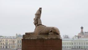 La statua della Sfinge sul fiume di Neva Immagine Stock