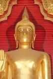 La statua di Buddha dell'oro fa la rete dell'uccello proteggere Fotografia Stock