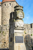 La statua di Dame Carcas di Carcassonne immagini stock libere da diritti