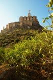 La statua di Jesus Christ sopra una fortezza su una montagna nella città di Monteagudo in Spagna Immagini Stock