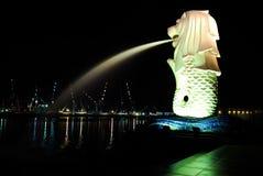La statua di Merlion a Singapore Fotografia Stock
