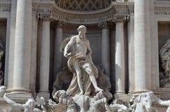 La statua di Nettuno, fontana di Trevi Fotografie Stock