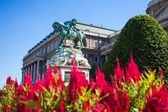 La statua di principe Eugene della Savoia davanti a Buda Castle Immagine Stock