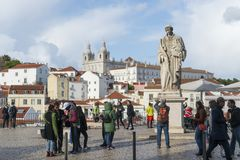 La statua di St Vincent a Lisbona Immagine Stock
