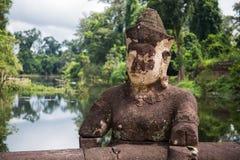 La statua nel tempio di Preah Khan Immagine Stock Libera da Diritti