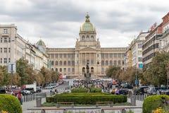 La statue équestre en bronze de St Wenceslas à Prague images libres de droits