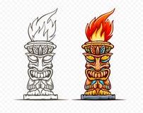 La statue de bande dessinée de totem de Tiki, a isolé Vecteur Illustration illustration libre de droits