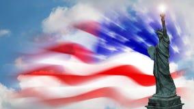 La statue de la liberté avec le drapeau des Etats-Unis et le laps de temps opacifie illustration stock