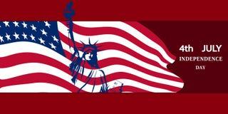 La statue de la liberté dans la perspective du drapeau national des Etats-Unis symbolise un Jour de la Déclaration d'Indépendance illustration de vecteur