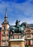 Statue sur maire de plaza, Madrid, Espagne image libre de droits