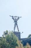 La statue de PROMETHEUS Monumentul Electricitatii près du barrage, barrage Vidraru sur la rivière Arges image libre de droits