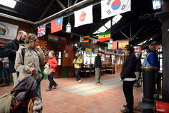 La stazione è la ferrovia più a sud nel mondo sull'orlo della terra Fotografia Stock