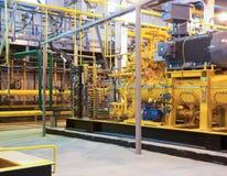 La stazione della turbina a gas sul passare gas Fotografia Stock