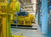 La stazione della turbina a gas sul passare gas Immagine Stock