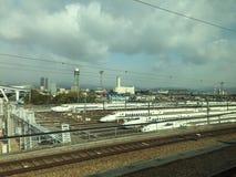 La stazione delle manutenzioni di Shinkansen Fotografie Stock Libere da Diritti
