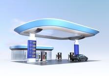 La stazione di carico contemporanea e la stazione di servizio di EV progettano per il nuovo concetto dell'approvvigionamento di e illustrazione vettoriale
