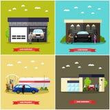 La stazione di servizio, l'autolavaggio ed il concetto dell'officina riparazioni vector le insegne Costruzioni di servizio relati Immagine Stock