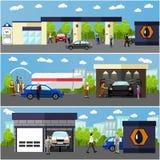 La stazione di servizio, l'autolavaggio ed il concetto dell'officina riparazioni vector le insegne La gente rifornisce le loro au Immagini Stock