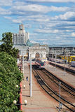La stazione ferroviaria della stazione Bielorussia di Minsk-Passazhirsky, immagini stock