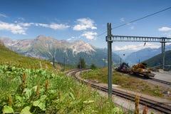 La stazione ferroviaria di Alp Grum è situata sulla ferrovia di Bernina Immagini Stock