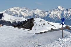 La stazione sciistica Zell vede, alpi austriache all'inverno Fotografia Stock