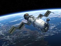La stazione spaziale spiega i pannelli solari Fotografia Stock
