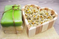 La stazione termale cosmetica per cura e la margherita del fronte fiorisce il sapone natual Immagine Stock