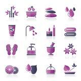 La stazione termale e si rilassa le icone degli oggetti Immagine Stock