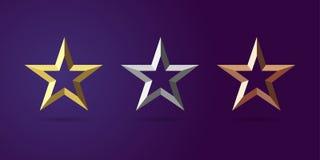 La stella assegna il primo secondo posto di terzo illustrazione di stock