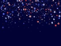La stella bianca blu rossa volante scintilla fondo patriottico americano di vettore royalty illustrazione gratis
