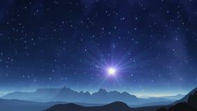 La stella blu nel pianeta dello straniero del cielo royalty illustrazione gratis
