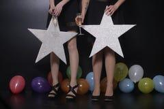 La stella della ragazza balloons il divertimento Immagini Stock Libere da Diritti