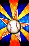 La stella di baseball ha scoppiato l'arancio illustrazione di stock