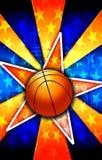 La stella di pallacanestro ha scoppiato l'arancio Immagine Stock Libera da Diritti