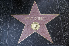 La stella di Walt Disney sulla passeggiata di Hollywood di fama Fotografia Stock