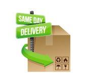 La stessa progettazione dell'illustrazione di consegna di giorno Fotografie Stock