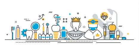 La stomatologie et le dentiste entretiennent la bannière début pour le site Web de débarquement de page Photos libres de droits